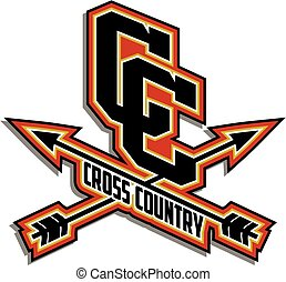 cross country team design with crossed arrows for school,...