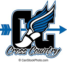 cross country team design with winged foot and arrow for school, college or league