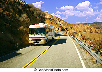 Cross Country Traveilng - RV Camper Traveling on a Mountain...