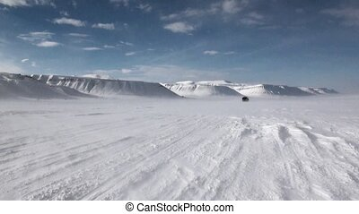 Cross-country vehicle in North Pole Spitsbergen Svalbard...