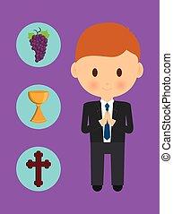 cross cup grapes boy kid cartoon icon. Vector graphic