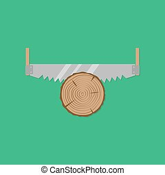 Cross cut saw. Flat design style