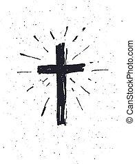 cross., desenhado, mão, grunge, pretas