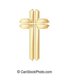 cross., dorado, vector, cristiano, illustration.