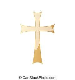 cross., dourado, vetorial, cristão, illustration.