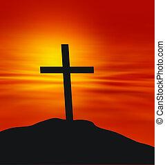 Cross on landscape