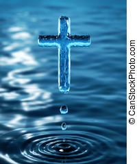 Cross - Holy Cross of water ripple - religious metaphor