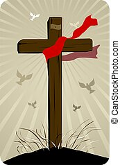 cross - Illustration of a cross in background of birds