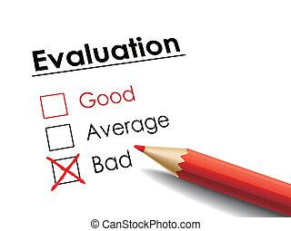 cross drawn on evaluation check box