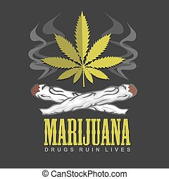 Cross drug and marijuana. Vector emblem.