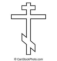 Cross eight-pointed of Greek-Catholic Orthodox icon black color illustration flat style simple image