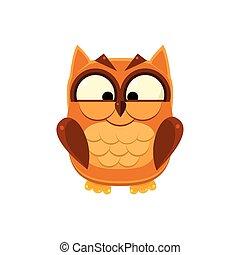 Cross-eyed Brown Owl Adorable Emoji Flat Vector Caroon Style...