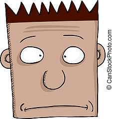 Cross Eyed Face - Cartoon of worried person with spiked hair...