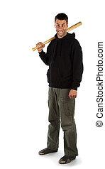 Cross-eyed hooligan with bat