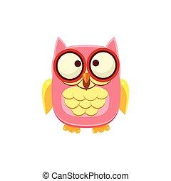 Cross-eyed Pink Owl Adorable Emoji Flat Vector Caroon Style...