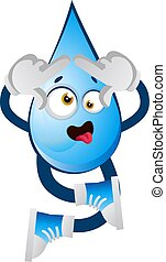 Cross eyed water drop, illustration, vector on white background.