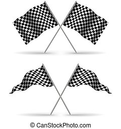 Cross Finish Flags with shadow Isolated on a White Background. Start flag Formula 1. Stock vector i