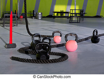 Cross fit Kettlebells ropes and hammer gym wall balls -...