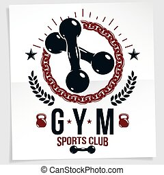 Cross fit motivation vector poster made using two dumbbells crossed and kettle bell sport fitness equipment.