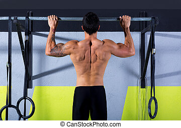 Cross fit toes to bar man pull-ups 2 bars workout exercise ...
