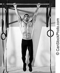 Cross fit toes to bar man pull-ups 2 bars workout