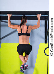 Cross fit toes to bar woman pull-ups 2 bars workout exercise...