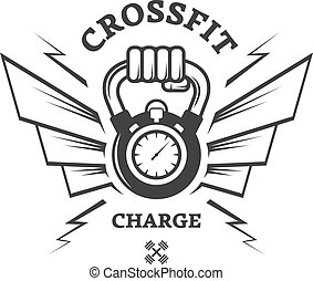 Cross Fit workouts for a while. Logo label.