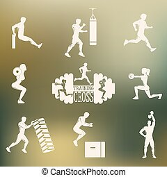 Cross Fitness silhouettes - Set emblema with men and women ...