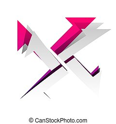 Cross from arrows icon. Vector. Detachable paper with shadow at