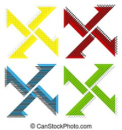 Cross from arrows icon. Vector. Yellow, red, blue, green icons w