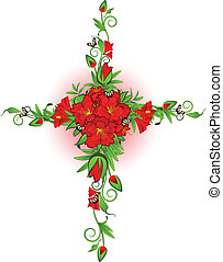 Cross from roses