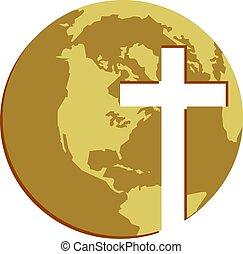 Cross Globe - The globe with cross cutout shape. Christian...