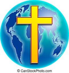 Cross Globe - World globe a cross design.
