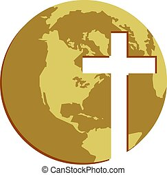Cross Globe - The globe with cross cutout shape. Christian...