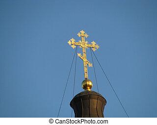 Cross, gold(en), blue sky, church; Christianity