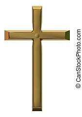 cross golden isolated for background - 3d rendering