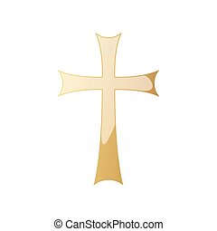 cross., gouden, vector, christen, illustration.