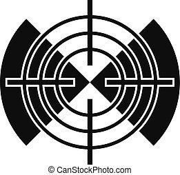 Cross gun aim icon, simple style