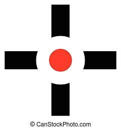 Cross-hair, target mark, reticule sign. Precision, accuracy,...
