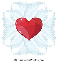Cross, heart and wings
