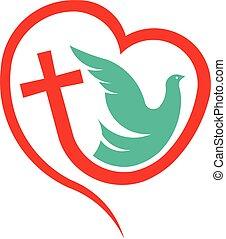 Cross Heart with Dove. Religion Logo illustration