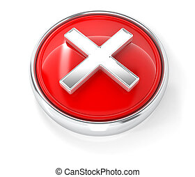 Cross icon on glossy red round button