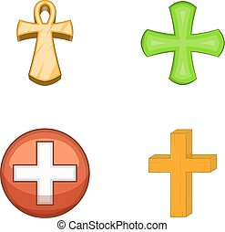 Cross icon set, cartoon style
