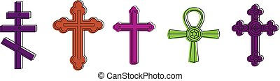 Cross icon set, color outline style - Cross icon set. Color...