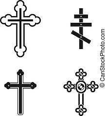 Cross icon set, simple style