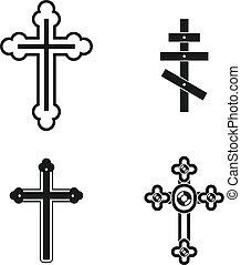 Cross icon set, simple style