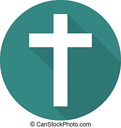 Cross icon with long shadow. Vector illustration