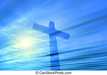 Cross - Illustration of a vision of a cross and blue sky (...