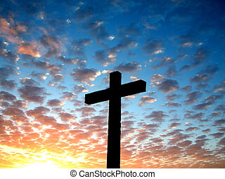 Cross in a cloudy sk - Silhouette cross in a cloudy sky
