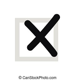 Cross in box icon, flat style